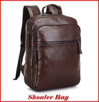 Wholesale Padded Laptop - Fashion Handbags 2016 New Brand Backpack PU Leather Double Shoulder Bag for Men Sport Bag Laptop pad School Bag out098