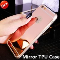 Wholesale Chrome Iphone Bumpers - For iphone 6s Luxury Electroplate Chrome Acrylic Mirror TPU Case Ultra-thin Bumper Protective Back phone Cover for Samsung S7 S6 edge Note 5