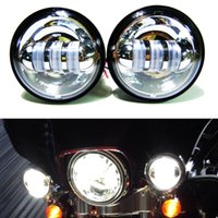 "Wholesale Motorcycle Lamp Led Auxiliary - 4-1 2"" Chrome LED Auxiliary Spot Fog Passing Light Lamp Bulb Motorcycle Daymaker Projector Spot Driving Lamp For Harley Motorcycle Fog Lamp"