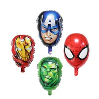 Wholesale red helium balloons - The Avengers Foil balloons super hero hulk man Captain America Ironman spiderman Kids classic toys helium balloon