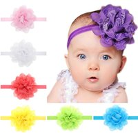 Wholesale Chiffon Mesh Fabric Flowers - solid colors Lace Mesh Puff Headband Fabric Chiffon Flower - Newborn Baby Hairbow - Little Girls Hair Bow - Easter Spring Holiday Photo Prop
