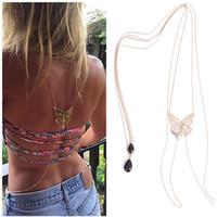 Wholesale Bare Bikini - Wholesale-Hot Sexy Bikini Long Necklace Body Chain Bare Back Gold Butterfly Pendant Body Jewelry NE147