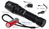 Wholesale Ultrafire Xml - 5pcs Ultrafire CREE LED XML T6 3000 Lumens Zoomable flashlight High Power E17 LED Torch light 18650 Battery + Car Charger + charger