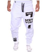 calças folgadas de dança venda por atacado-Atacado-Men Dança Baggy Harem Pants calças de suor Hip Hop dos homens do desenhista Calças Streetwear Esporte Jogger Calças Gym Roupa Plus Size