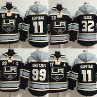 alte zeit hockey schnell großhandel-Heißer Verkauf Mens Alte Zeit Los Angeles Könige 11 Anze Kopitar 99 Wayne Gretzky 32 Schnell Beste Qualität Günstige Stickerei Logos Hockey Hoodies