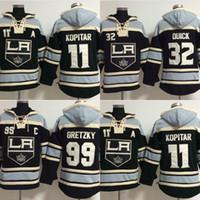 tempo velho de hóquei rápido venda por atacado-Venda quente Mens Old Time Los Angeles Reis 11 Anze Kopitar 99 Wayne Gretzky 32 Rápido Melhor Qualidade Barato Logos Bordados Hoodies Hóquei