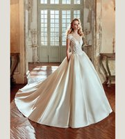 Wholesale Satin Lace Ballgown Wedding Dresses - Haute Couture Boat Neck Sheer Bodice Satin Ballgown Wedding Dress with Side Pocket Italian Bridal Design 2017 NIAB17001 Nicole Spose