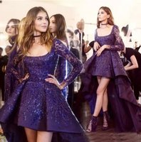Wholesale Low Back Club Dresses Images - 2017 Fashion purple High Low Long Sleeve Evening Dresses Prom Cocktail Dress Sparkly Beads Occasion Party Gowns