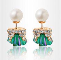 Wholesale High End Fashion Jewelry - 2017 Hot Earrings Jewelry Temperament Irregular Earrings Pearl Diamond Crystal Earrings High-End Jewelry Earring Stud Wholesale Fashion