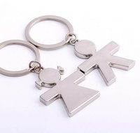 Wholesale Personalized Couple Key Chains - Stainles Steel Boy And Girl Dropper Key Rings Chains Promotion Gift Lover Couple Key Ring Personalized DIY Engrave Logo Supported