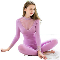 Wholesale Pajamas Top Bottoms - Womens Sezy Lingerie babydoll Lace Chemise Soft Long John Underwear Set Top and Bottom Set pajamas