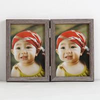marcos de fotos de madera en casa al por mayor-Doble marco de fotos Regalos creativos Muebles para el hogar Adornos Marcos de madera de alta calidad Venta caliente 10db J R