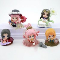 Wholesale One Piece Shirahoshi - 5Pcs Set Anime One Piece Hancock Robin Nami Shirahoshi Perona PVC Action Figure Model Toys Free Shipping