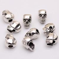 Wholesale Skull Heads Beads - Wholesale Skull Head Beads Skeleton Evil Zinc Metal Alloy Big Hole Charm Bead Fit European Chain Pandora Bracelets Jewelry 100pcs