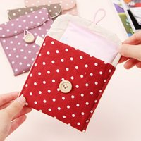 Wholesale Grey Napkins - Portable Brief Cotton Bags Cute Full Dots Bags Storage Bag Polka Dot Organizer Storage Female Hygiene Sanitary Napkins Package Purse Case