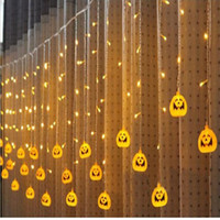 cortina colgante de luz led al por mayor-Halloween 3.5M 5M led Calabaza Luz de hadas LED Cortina Cadena Luz Árbol Colgando Decoración para bares de Halloween Partes Lámparas de decoración