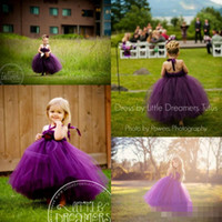 Wholesale Girls Dresses Plum - 2016 Perfectly Plum Tutu Dresses Halter Ball Gown Grape Purple FLoor Length Tulle Princess Flower Girls Dress Backless Pageant Gowns