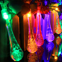 Wholesale Color Changing Led Light String - Newly water drop LED solar string light 20 LEDs color change IP65 waterproof led fariy lights outdoor led Christmas lights for garden