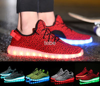 Wholesale Sports Outdoors Wholesale - 2016 Top LED Shoes light colorful Flashing Shoes with USB Charge Unisex Fluorescent Couple Shoes For Party and Sport 350 Boost Casual Shoes