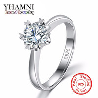 YHAMNI Luxury 100% Solid Silver Rings avec S925 Stamp Real 925 Silver Rings Set 1 ct SONA Diamond Wedding Rings For Women JR122