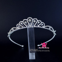 Wholesale Diamond Hair Sticks - Headband Tiaras Crowns Rhinestone Crystal Diamond Kids Hair Accessories Comb Princess Wedding Flower Child Headwear Party Simple Style 02166