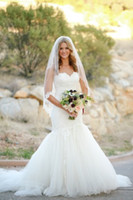 Wholesale Simple Sweetheart Mermaid Dress - New Arrival Lace Mermaid Wedding Dresses 2016 Sweetheart Neckline Simple Romantic Long Bridal Gowns Plus Size Vestidos De Noiva