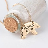 Wholesale Personalized Silver Charms - Fashion Gold Silver Tone Personalized Mama Bear Necklace Mother Bear Mom Necklace Mothers Day Gift Jewelry