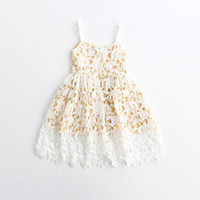 Wholesale Kids Summer Yellow Dresses - Hug Me Baby Girls Lace Tutu Dresses Christmas 2016 New Autumn Sleeveless for Kids Clothing New Party Lace Cake Vest Lace Dress AA-435
