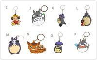 Wholesale Totoro Keychain Metal - My Neighbor Totoro cat bus Water melon Figures PVC Pendant Key Tags Keychain with Ring 10PCS LOT
