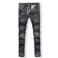 Wholesale Dhl Jeans - Wholesale-Free DHL 2016 Top Quality Gray Washed Holes Ripped Jeans Men White Paint Point Low Waist elasticity Skinny Jeans Famous Brand