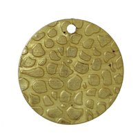 "Wholesale Brass Spots - Copper Charm Pendants Round Brass Tone Spot Carved Blank 18mm( 6 8"") Dia,30 PCs 2016 new jewelry making DIY"