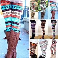 çizme çizgili tozluk toptan satış-Kış Noel Snowflake Örme Tayt Xmas Sıcak Stoklar Pantolon Stretch Tights Kadın Bootcut Stretchy Pantolon OOA3442
