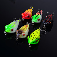 Wholesale Minnow Hard Baits - 6-color 4.2cm 6.2g Ray Frogs plastic baits Hard Lures Fishhooks 3D Minnow Fishing Lure Hooks 8# Hook Artificial Pesca Tackle