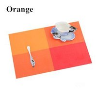 Wholesale Orange Table Mats - Wholesale- Lot Of 4 Orange Square Placemat Tableware Vinyl Dining Table Place Mats Pads Dinnerware Restaurant Catering Accessories Supplies