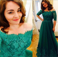 Wholesale Mother S Dress Floor Length - Elegant Dark Green Formal Mother Of The Bride Dresses Half Sleeve Off-Shoulder Lace Appliques Mother Dress Wedding Guest Gowns Cheap Plus S