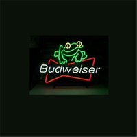 NEON SIGN para BUDWEISER BEER FROG Loja de loja personalizada Beer Bar Pub Club Lights Signs Shop Decore Real Glass Tube Bulbs