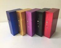 Wholesale Cigars Cuba - Wholesale-Metal 20 Cigarette Case Lighters Best Friend Tobacco Box Color Blue Red Black Purple Tellow Cigars Cuba