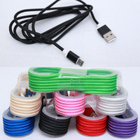 Wholesale Colorful Cell Phone Chargers - Colorful Fabric Braided Aluminum Alloy 1.5M Data Sync charger Line Cell Phone Cables For i5 Samsung DHL Free