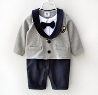 Wholesale Gentleman Modelling Romper - 2016 Newborn Casual Gentleman Boys Modelling Romper Baby cotton long sleeve autumn Romper Toddler Jumpsuits Infant bodysuits One Piece cloth
