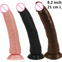 "Wholesale Long Sex Woman - 8.26"" real skin feeling huge long Dildo For Women sex porn toy dong penis long woman sex products"