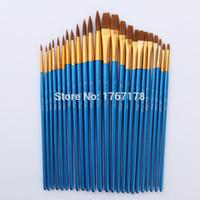 Wholesale Old Hair Brush - 24Pcs Nylon Hair Wooden Handle Painting Brush Artist Pen Set