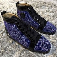 Diamond Sneakers Shoes Men, Women Leisure Flats Fashion HighTOP Red Bottom Strass Sneaker Shoes Платье для вечеринок Rhinestone Black, Blue, Gold, Pink