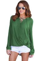 Wholesale Camisas Moda - CRYG blusas mujer de moda 2017 Women Solid Lace Up Blouse Autumn Spring Lady Long Sleeve Shirt Top Camisas Feminina vadim