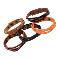 Wholesale Leather Wristbands Snaps - Fashion leather Wrap Multilayer bracelets button snap wristband bangle cuff for women men Infinity bracelet 160488