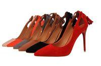 Wholesale Elegant Red Heels - Platform Women Pumps High Heels Shoes Elegant Tassel Sexy Lady Heeded Shoes Ultra Thin Heels Shoes Female Wedding Party Shoes