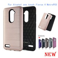 Wholesale One Touch Pc - For Alcatel One Touch Fierce 4 POP 4 PLUS 5056 Allura Metropcs Armor Hybrid Brush carbon fiber Case TPU PC luxury Brushed Cover