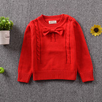 Wholesale Children Red Pullover Sweater - Christmas children sweater fashion girls red Bows sweater kids knitting pullover sweater children jumper baby clothing A9934