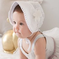 Dolce Princess Hollow Out Baby Girl Cappello Summer Lace-up Beanie Rosa / Bianco Cotton Bonnet Enfant per 0-12M A8414