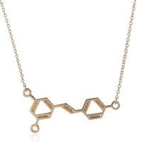 Wholesale Copper Structures - Chemistry Structure Pendant Necklace Trendy Wine Molecule Chemistry Pendant Necklace for Women Science Resveratrol Gold Silver Plated Chain