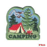 "Wholesale Tree Patches - Holiday ""CAMPING"" IRON ON PATCH w TENT TREES & BONFIRE TRIP VACATION OUTDOORS"